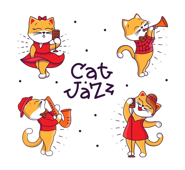 Set of cartoonish cats playing jazz and singing songs.