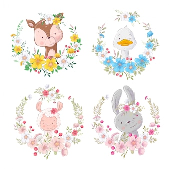 Set cartoons cute animals deer duck lama hare in flower wreaths