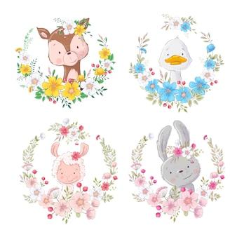花の花輪で漫画かわいい動物鹿アヒルラマ兎を設定します。