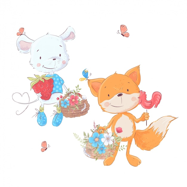 Set cartoons cute animals mouse and fox with baskets of flowers