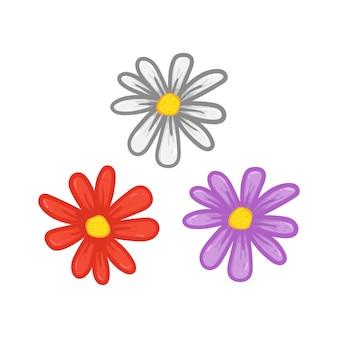 만화 데이지 꽃 꽃잎 손 그림 그리기 설정