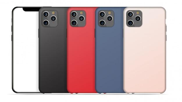 아이폰 용 세트 케이스. 흰색 배경에 고립 된 휴대 전화 액세서리입니다.