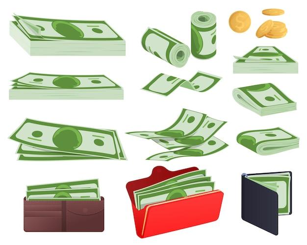 Set of cash, wad of money, wallet. vector illustration