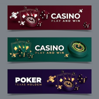 Set of casino banners with casino chips and cards. poker club texas holdem.  illustration
