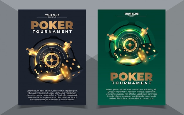 Set of casino banners with casino chips and cards. poker club texas holdem.