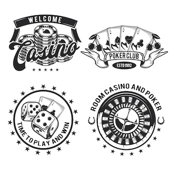 Set of casino elements (cards, chips and roulette) emblems, labels, badges, logos. isolated on white