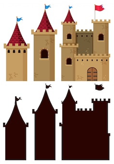Set of castle building