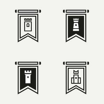 Set of castle flag line art logo template vector illustration design