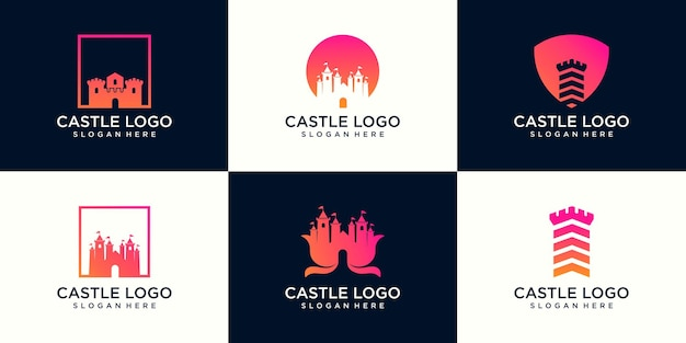 Set of castle logo design, palace logo, fortress logo and shield silhouette for real estate