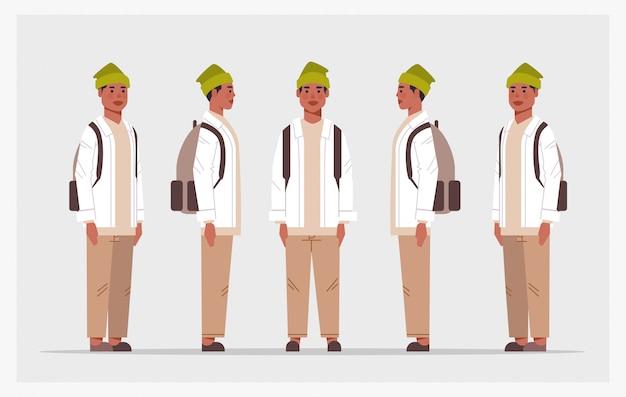 カジュアルな男のフロントサイドビューの男性キャラクターのさまざまなビューをアニメーションの全長水平に設定