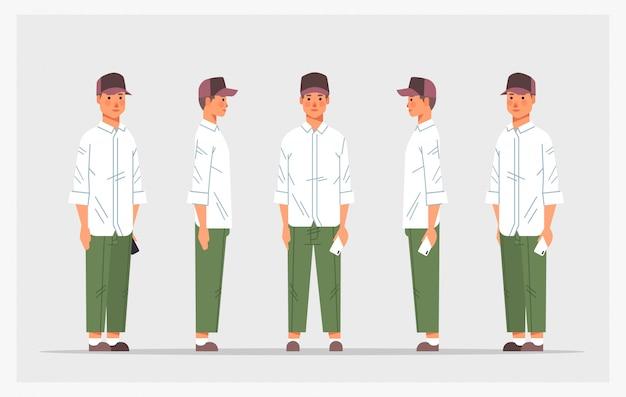 カジュアルな男をスマートフォンの正面側に設定します男性のキャラクターアニメーションフルレングスの水平方向のさまざまなビュー