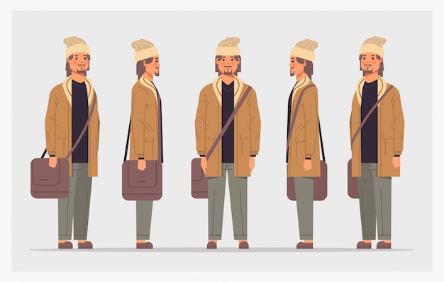 カジュアルな男性のフロントサイドビュー男性キャラクターのアニメーションの全長水平方向のさまざまなビューを設定します。