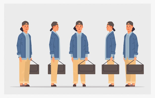 Set casual student with shoulder bag front side view male character different views for animation full length horizontal