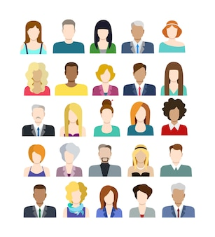 Set of casual stylish fashionable people icons in flat style