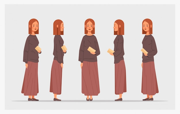 Set casual woman front side view female character different views for animation full length