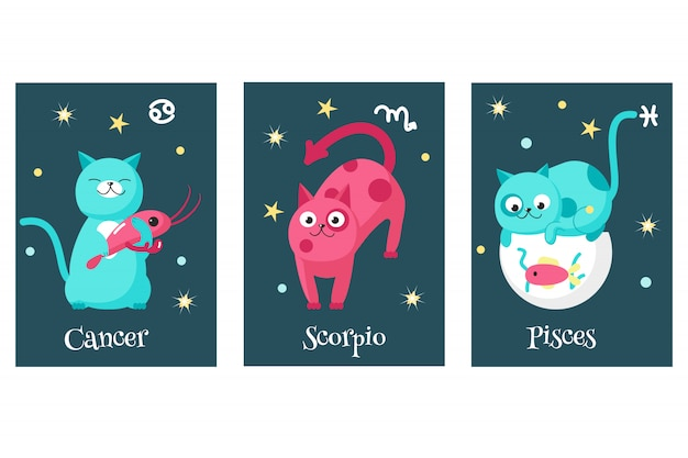 Set of cat astrology zodiac sign cards