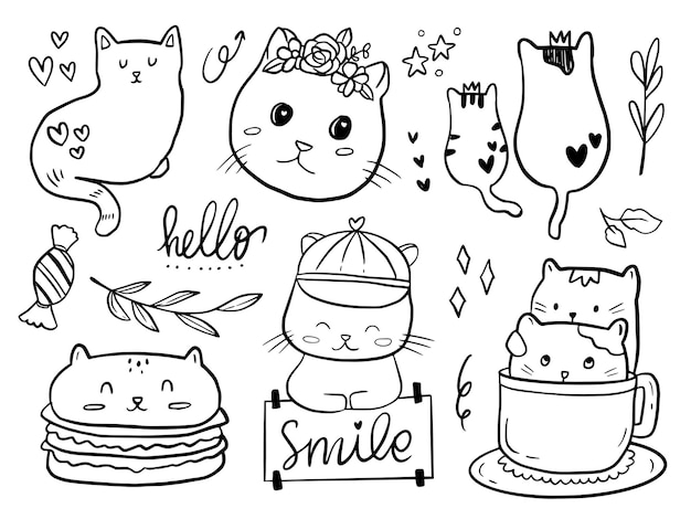 Set of cat couple doodle drawing cartoon for kids coloring and print
