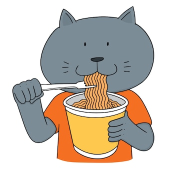 Set of cat eat noodle