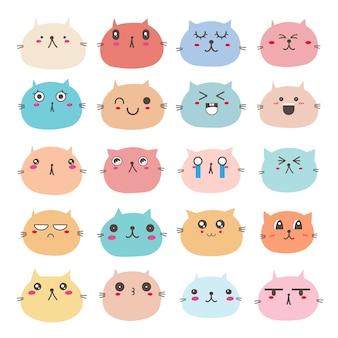 Set of cat face emoticons, cute cat character design.