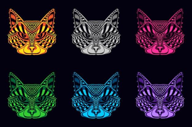 Set of cat face