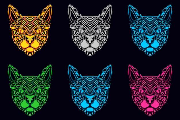 Set of cat head colored