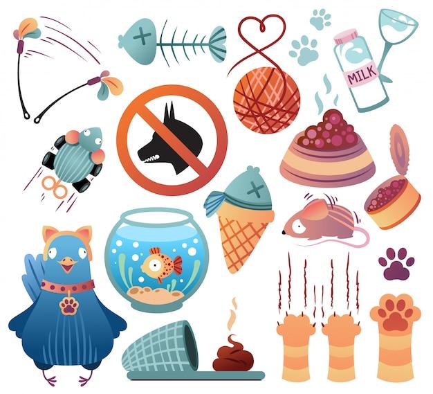 Set of cat items.