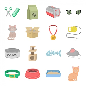 Set of cat related elements