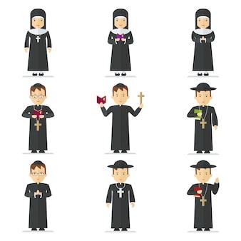 가톨릭 신부와 수녀를 설정합니다. 목사는 기도를 읽고, 십자가, 성경, 복음을 들고 교인들을 축복합니다. 평면 벡터 만화 일러스트 레이 션. 흰색 배경에 고립 된 개체입니다.