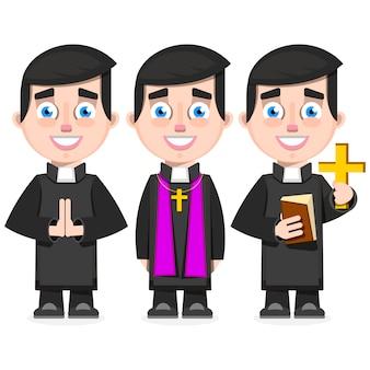 Set of catholic priest in cartoon style vector illustration
