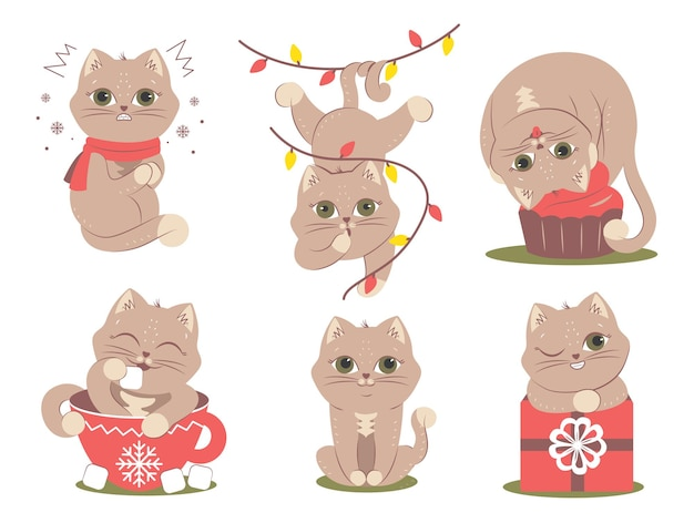 The set of cats for christmas logotype stickers etc the collection of animals in different poses