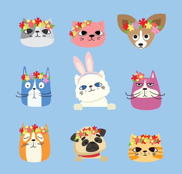 Set of cats and dogs and spring flowers