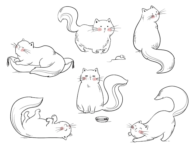 Set of cats playing around vector line illustration