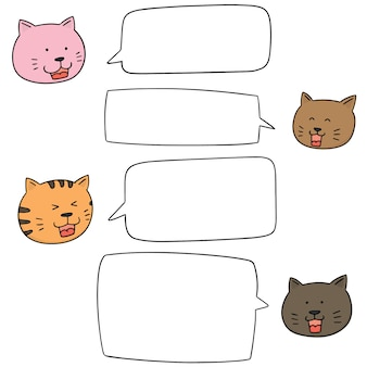Set of cats talking