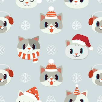 Set of cats with christmas accessories seamless pattern