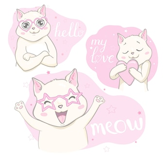 Set of cats with lettering