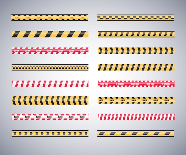 Set of caution danger tapes. warning security