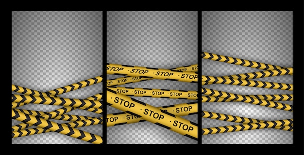 Set of caution, danger, warning, attention, police tapes, sign, line. black and yellow line striped.