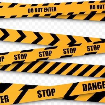 Set of caution, do not enter