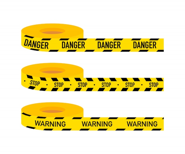 Set caution lines isolated. warning tapes. danger signs. vector stock illustration