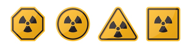 Set of caution radiation sign in different shapes in orange