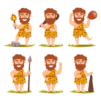 Set of caveman prehistoric neanderthal mascot design illustration