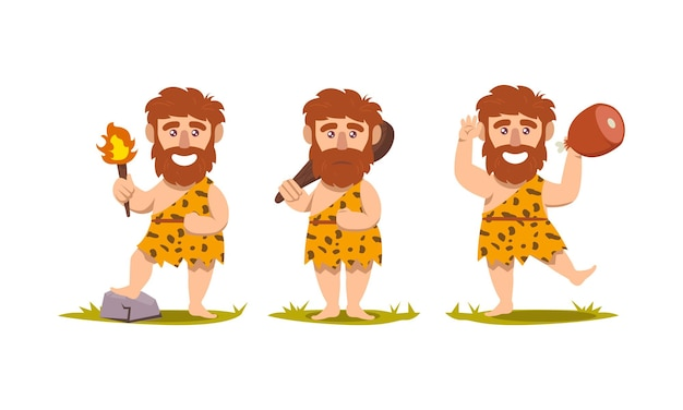 Set of caveman prehistoric neanderthal mascot design illustration