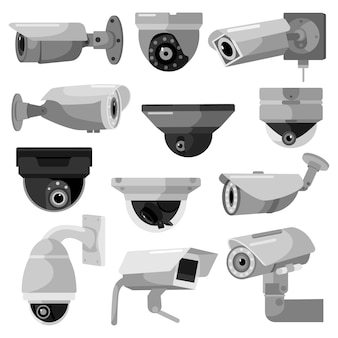 Установите камеру видеонаблюдения на белом фоне. наблюдение за оборудованием для защиты, безопасности и наблюдения, векторные иллюстрации. камера видеонаблюдения в стиле плоский дизайн.