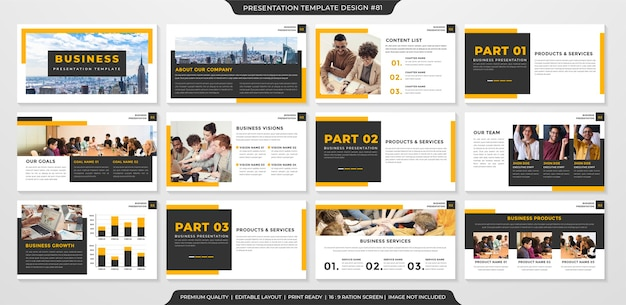 Set of celan powerpoint layout template premium style