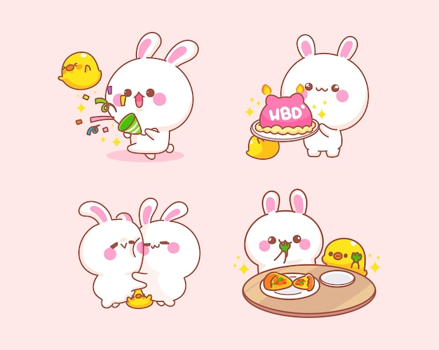Set of celebrate rabbit with duck  cartoon illustration