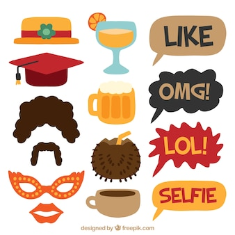 Set of celebration elements and speech bubbles for photoboth
