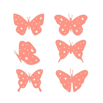Set of celestial and mystical butterfly illustrations with moon and stars
