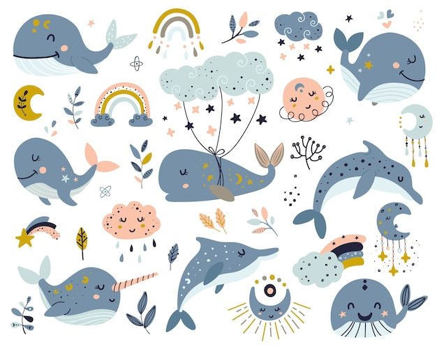 Set of celestial whales, dolphins and narwhal
