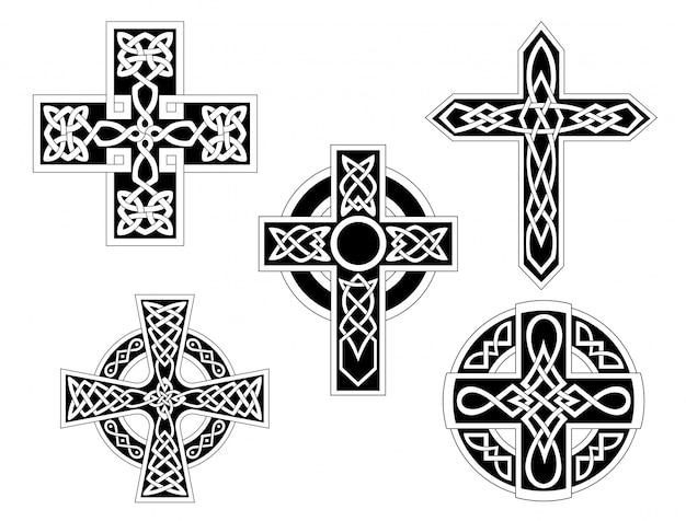 Set of celtic crosses