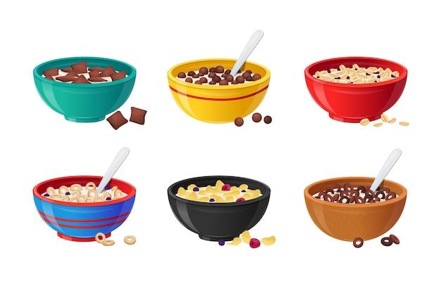 Набор керамических мисок с хлопьями на завтрак, молоком, шоколадом и ягодами. концепция здорового питания